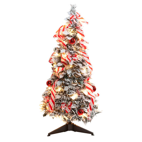 3-Ft. Candy Cane Frosted Pull-Up Tree by Northwoods™ - View 2
