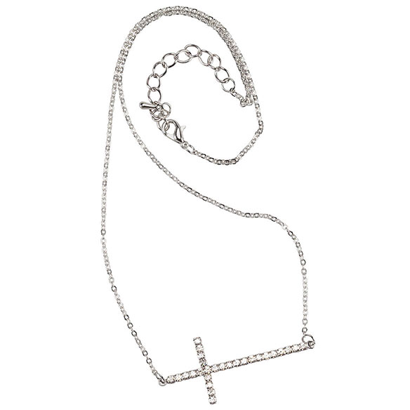 Silver Horizontal Cross Necklace - View 2